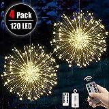 4 Stücke Feuerwerk Lichterketten Starburst Lichter 120 LED Kupferdraht Feuerwerk Lichter mit...