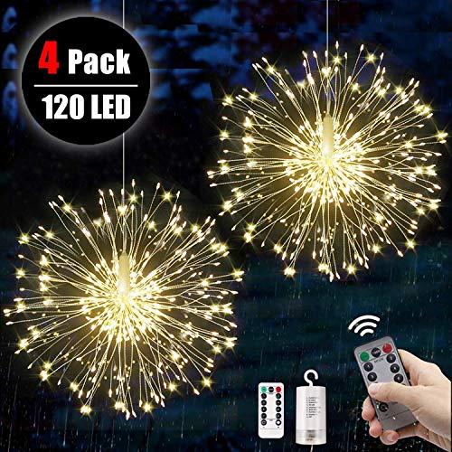 4 Stücke Feuerwerk Lichterketten Starburst Lichter 120 LED Kupferdraht Feuerwerk Lichter mit Fernbedienung 8 Modi der Lumineszenz Wasserdicht Haus Garten 4pcs