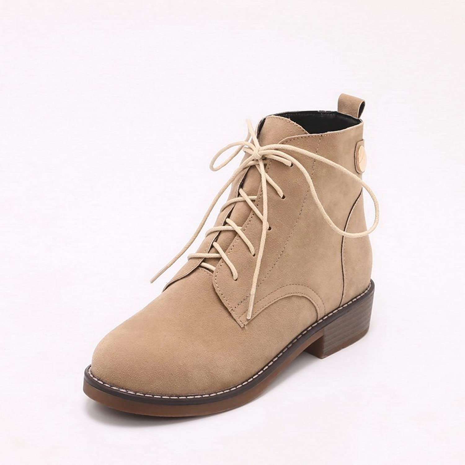 AandN Womens Boots Closed-Toe Lace-Up Adjustable-Strap No-Heel Warm Lining Solid Road Low-Top Smooth Leather Fashion Urethane Boots DKU01916