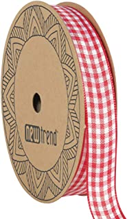 NewTrend Gingham Ribbon 25 Yard Each Roll 100% Polyester Woven Edge (5/8-Inch, Red)
