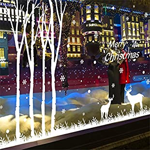 Merry Christmas Snowflakes Christmas Reindeer Christmas Family Photo Frame Tree Wall Decals Removable Saying Wall Stickers, Living Room Bedroom Shop Window Art Decor Holiday Home Decoration (Forest Tree):Hashflur