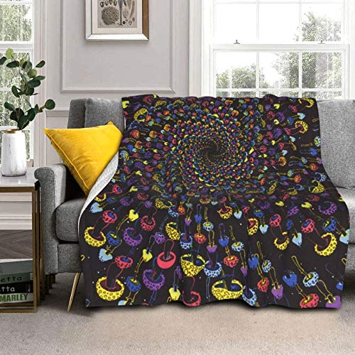 DPQZ Sherpa - Mantas de forro polar de 50 x 40 pulgadas, diseño de setas en espiral, reversibles, suaves, cómodas, cama de microfibra ligera, para sala de estar/dormitorio