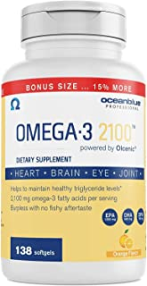 Ocean Blue Omega 3 2100-138 ct - Bonus Bottle 15% More Free - 2100 MGS of DHA EPA DPA per serv - Heart Eye Brain Support -...