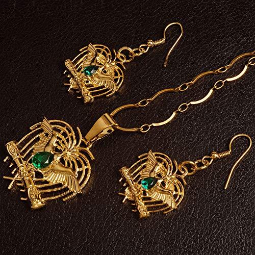 NCDFH Papua Guinea con Piedra Verde Color Dorado Ave del paraíso t Collares/Pendientes Joyería de Moda Regalos de Estilo # J0109 Cadena de 60 cm