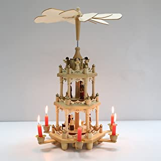 Pioneer-Effort Christmas Wooden Pyramid 18 Inch -3 Tier with Hand-Painted Nativity Figurines with Turning Wings with 6 candleholders