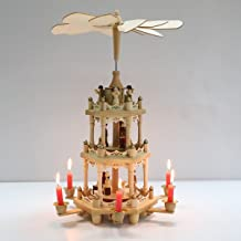 Pioneer-Effort Christmas Wooden Pyramid 18 Inch -3 Tier with Hand-Painted Nativity Figurines with Turning Wings with 6 can...