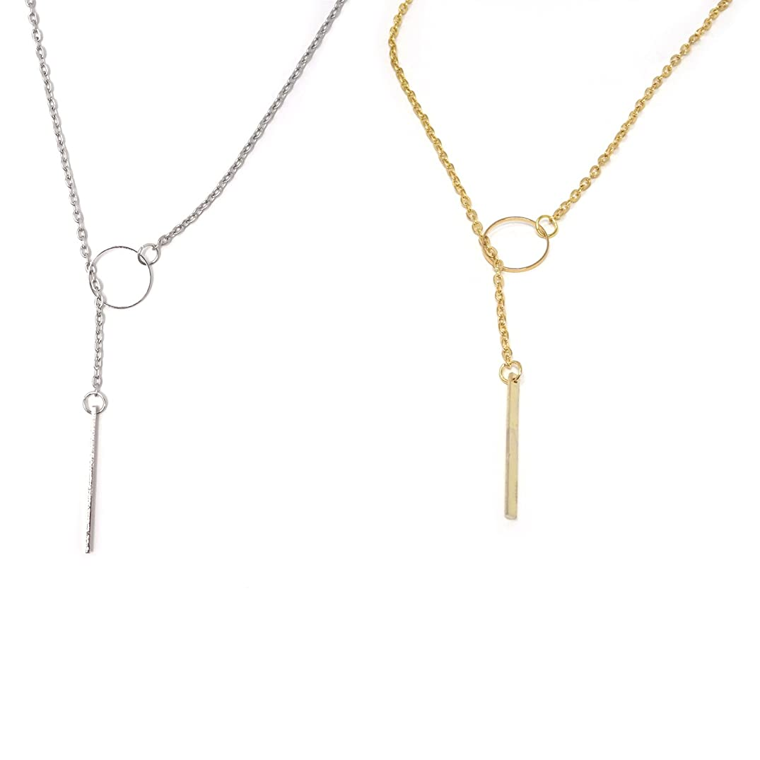 Honbay 2PCS Open Ring Circle Necklace Circle Lariat Necklace Simple Metal Circle Clavicle Necklace for Women and Girls- Gold and Silver