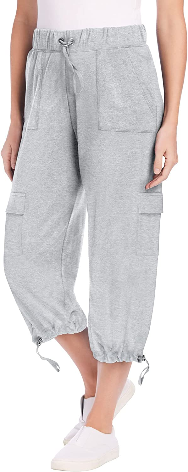 Woman Within Women's Plus Size Pull-On Knit Cargo Capri Pant