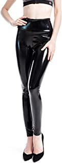 keepmore Donne Pelle Leggings Sexy A vita alta Elastico PU Pelle Pantaloni skinny Wet Look Metallico Latex Leggings