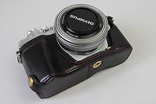 Olympus オリンパス OM-D E-M10 Mark III OM D E M10 Mark III 半カメラカバー 半カメラケース、Koowl手作りのトップクラスのPUレザーカメラボディージャケット、保護袋、台座の透かし彫り+ハンドスト...