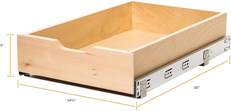 Knape & Vogt WMUB-14-4-R-ASP Soft-Close Wood Drawer Box, 5 by 14.63 by 22