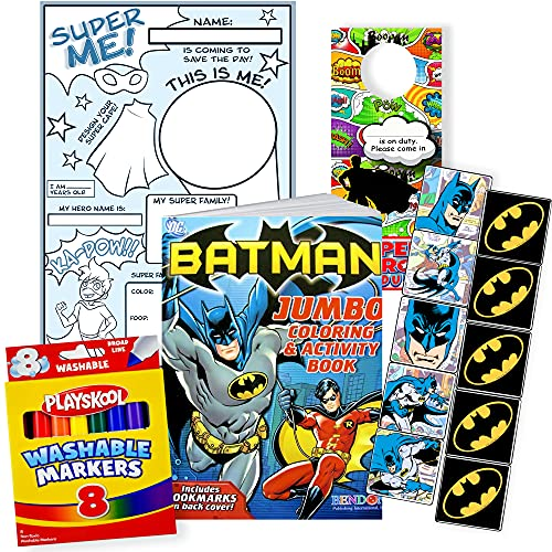 Nick Jr. Studios Batman Coloring Book Set Bundle for Kids with Batman Stickers, Markers, and All About Me Poster to Color
