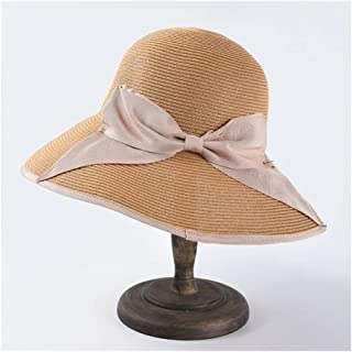 SHENTIANWEI Summer Straw hat Female Foldable Big Sunscreen Sun Visor Japanese fine Paper Grass Bow Seaside Holiday Beach hat (Color : Pink)