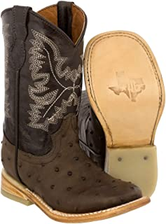 Veretta Boots - Kid's Toddler Brown Ostrich Print Cowboy Boots Square Toe