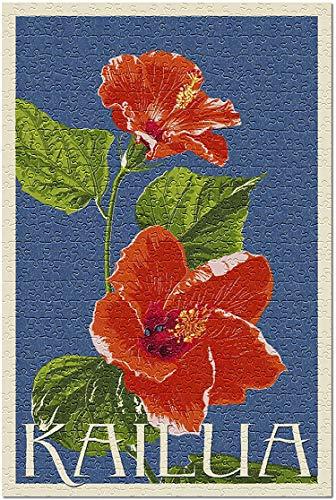 Romance-and-Beauty Kailua, Hawaii - Tipografía de Flor de Hibisco Rojo (Rompecabezas para Adultos) 1000 Piezas
