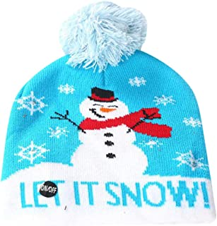 LED Light Up Knitted Hat Ugly Sweater Cap with 7 Colorful Lights Holiday Reindeer Xmas Christmas Beanie Hat- 3 Flashing Modes