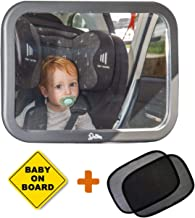 Baby Car Mirror for Backseat Rear View - 100% Lifetime Satisfaction Guarantee - Cling On Sunshades Plus Baby on Board Sign. (Fully Assembled) - Perfect Baby Shower Gift for Boys and Girls