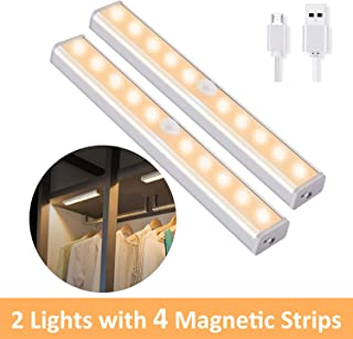 OUSFOT Under Cabinet Lighting, 10 LED Cupboard Lights Motion Sensor Indoor Wireless USB Rechargeable Battery with 4 Magnetic Strips for Closet/Wardrobe/Stairs/Wall Upgraded Version (2 Pack)