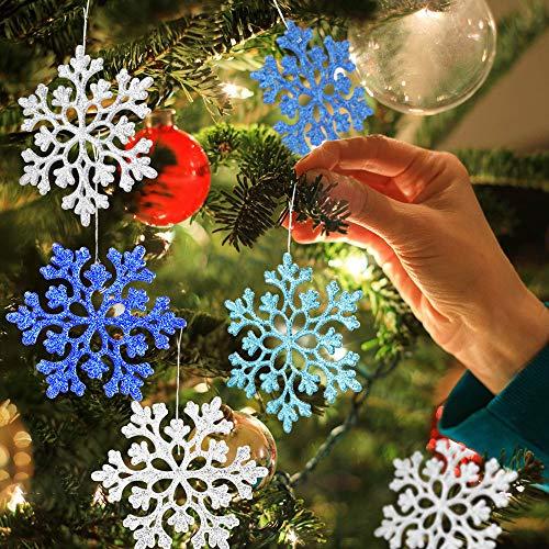 Eyscoco Schneeflocken, 24 Stück Schneeflocken-Weihnachten Deko in 4 Farben für Weihnachtsbaum Glitzer Weihnachtsbaumschmuck Weihnachtsbaumanhänger (24)