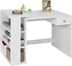 SoBuy FWT35 W Desk with 1 Drawer and 3 Shelves: Bench for Computer/Office Table White WxHxD approx. 101X76X60 CM