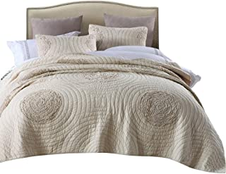 mixinni Quilt Set Beige California King Size 106'' x 96'' Classical 3D Floral Pattern Cotton Quilted Bedspreads and Comforter Set, Lightweight &Soft