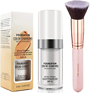 Foundation Color Changing Make Up Corrector 30ml & SIGHTLING Brocha de Maquillaje Kabuki Cepillo de Maquillaje
