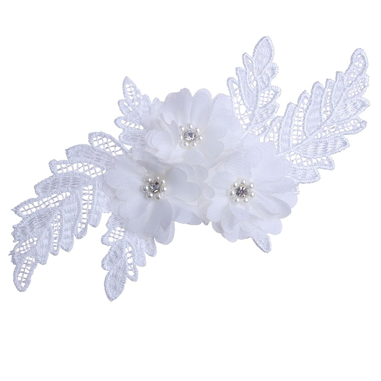 White Elagant Pearl Beaded 3D Floral Applique Thick Embroidery for DIY Wedding Dance Shirt Costume (2)