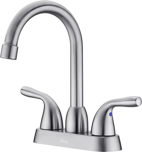 high quality Bathroom online sale Faucet Brushed Nickel,2-Handle sale Bathroom Sink Faucet for 3 Hole,4 Inch Centerset Lavatory Bathroom Faucets,Modern Lead-Free Faucet for Bathroom Sink outlet online sale