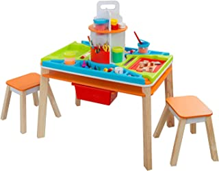 KidKraft Ultimate Creation Station Kids Activity Art Table with 4 Stations & 2 Stools