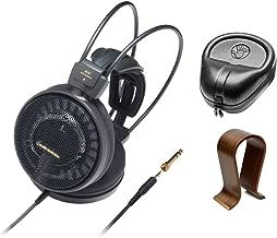 Audio-Technica Audiophile Open-Air Headphones Black (ATH-AD900X) with Slappa HardBody PRO Full Sized Headphone Case Black & Universal Wood Headphone Stand