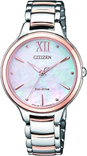 CITIZEN Womens Solar Powered Watch, Analog Display and Solid Stainless Steel Strap EM0556-87D