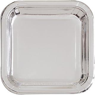 يونيك اندستريز فويل سيلفر Square Dinner Plates 32325