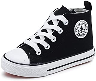 DADAWEN Girl's Boy's Canvas Side Zipper Lace up High-Top Fashion Sneakers (Toddler/Little Kid/Big Kid)