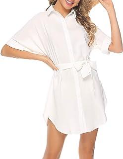 Abollria Camicia Lunga Donna Vestito Abito in Camicie Taglie Forti a Manica Lunga Shirt Casual Stile di Boyfriend per Prim...