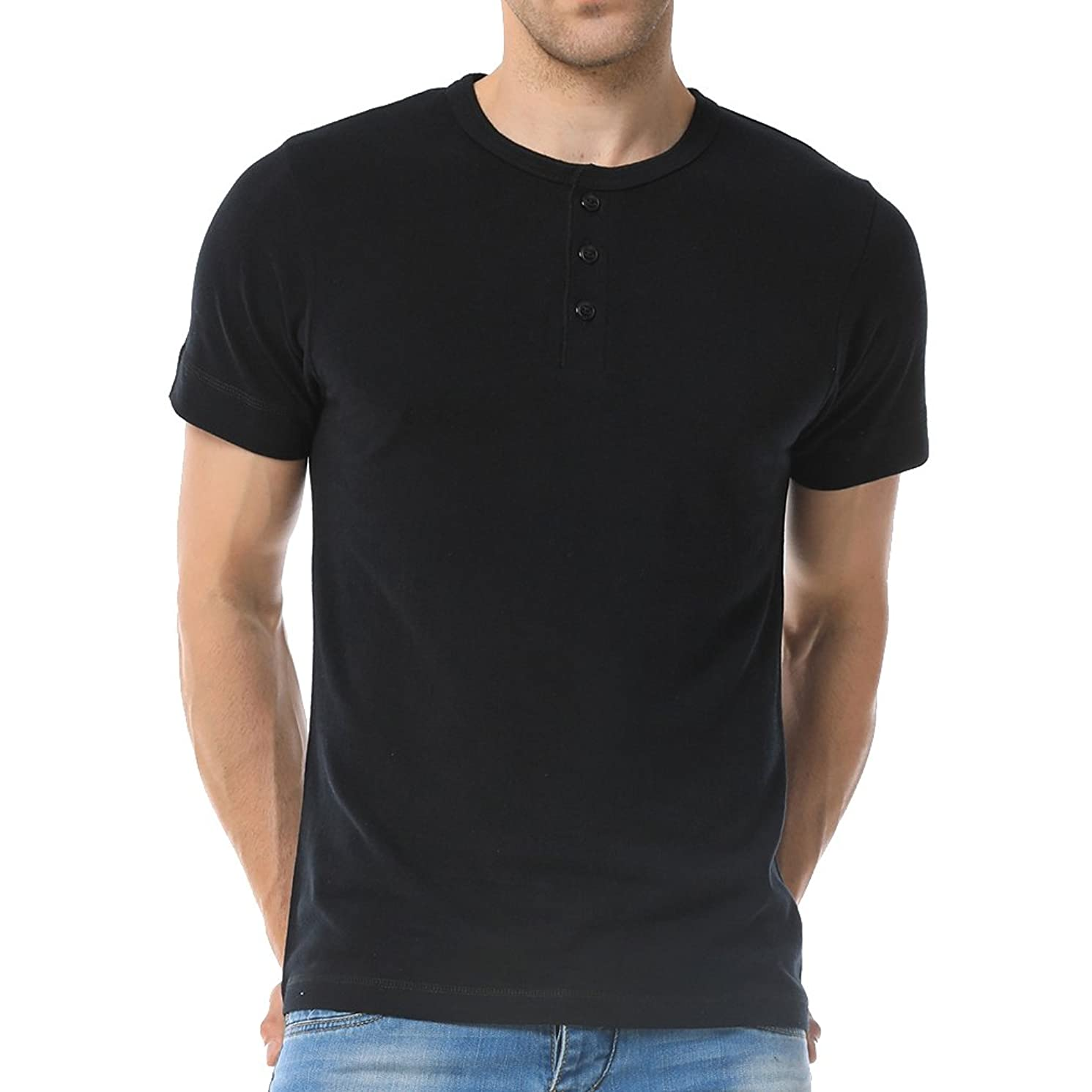 Just No Logo Men's Short Sleeve Casual Cotton Henley T-Shirt with Solid Color