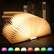 Led-boekenlamp, sfeerverlichting, 8 kleurmodi boekenlamp van hout, usb sfeerverlichting, tafellamp, bedlampje, decoratieve...