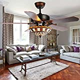 Andersonlight 52-Inch Ceiling Fan with Five Brazilian Cherry/Harvest Mahogany Blades and Tiffany Glass Light Kit, Black