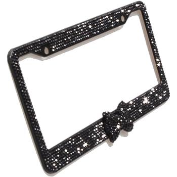 Luxury Handicraft Fade Blue Bowtie Bling Crystal License Plate Frame Cute Rhinestone License Plate Holder for Lady,Women,Girls