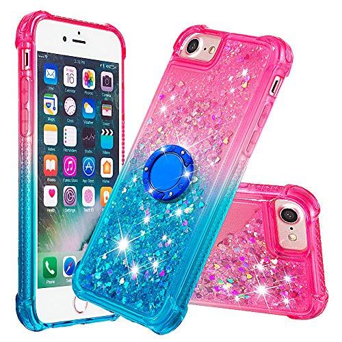 Bling Quicksand Funda para iPhone SE 2020, iPhone 8/iPhone 7 4.7 pulgadas, resistente a los golpes, funda de goma suave (rosa+azul)