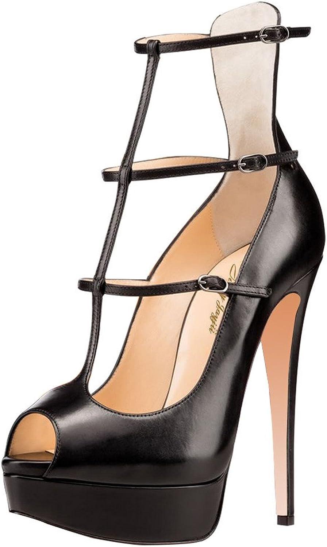 Nancy Jayjii Sexy Strappy Pump Peep Toe Platform Platform Platform Klädskor svart läder för kvinnor  till grossist