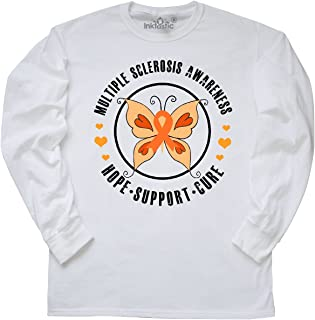 inktastic Multiple Sclerosis Orang Ribbon Hope Support and Long Sleeve T-Shirt