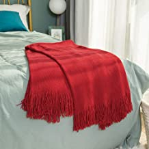 Inshere Christmas Red Solid Color Knitted Woven Throw Blanket with Tassels Fringe Soft Cozy Warm Lightweight Winter Home Decor for Couch Bed Chair Sofa Living Room 51''x67''