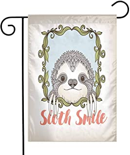 Mannwarehouse Sloth Garden Flag Exotic Animal in Floral Frame Sloth Smile Theme with Cute Mammal Portrait Premium Material W12 x L18 Olive Green Blue Pink