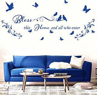 Blue Vinyl Wall Stickers for Living Room Entryway Dining Room Wall Quotes Bless This Home and All who Enter Wall Decals Re...