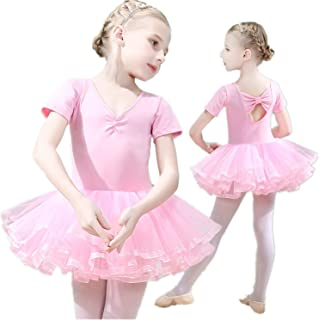 Girls Ballet Dress Tutu Slim Dance Leotards Dress Short Sleeve Dress