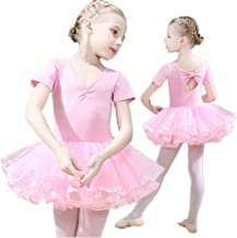 Girls Ballet Dress Tutu Slim Dance Leotards Dress Short Sleeve Dress