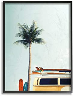 Stupell Industries Surf Bus Yellow with Palm Tree Photography Black Framed Wall Art, 16 x 20, Multi-Color