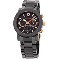 Wittnauer Mens Black Ceramic Rose Gold Accented Watch