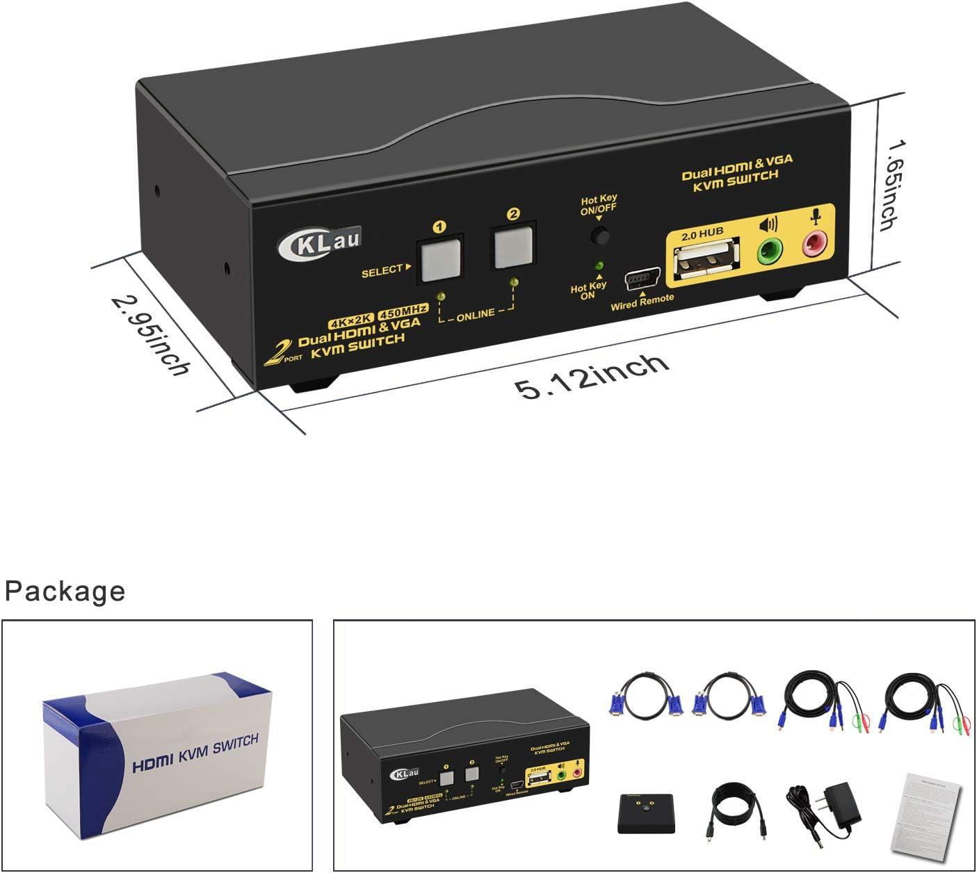 CKLau 4 Port Quad Monitor HDMI KVM Switch with Audio Microphone ...