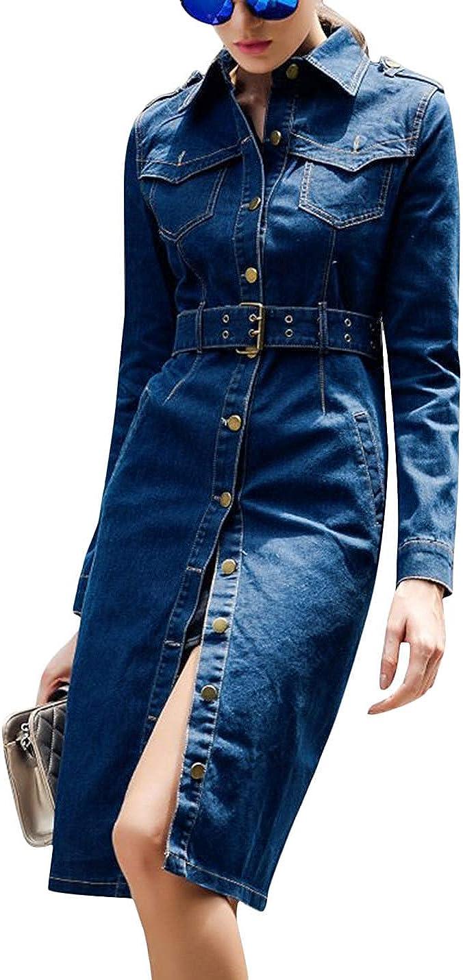 Tanming Women's Casual Distressed Lapel Ripped Denim Jean Long Dress Jacket Coat